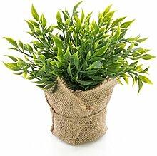 Künstlicher Mäusedorn Kraut VITUS im Jutesack, grün, 22 cm - Kunstpflanze / Kräuter Pflanze - artplants