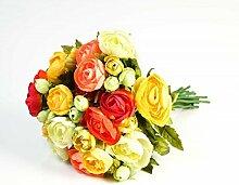 Künstlicher Ranunkelstrauch mit 18 Blüten, bunt, 30cm, Ø 25cm - Deko Strauß Busch Strauch