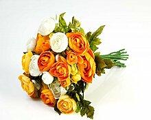 Künstlicher Ranunkelstrauch mit 18 Blüten, gelb-orange, 30cm, Ø 25cm - Deko Strauß Busch Strauch