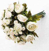 Künstlicher Ranunkelstrauch mit 18 Blüten, weiß-rosa, 30cm, Ø 25cm - Deko Strauß Busch Strauch