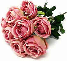künstlicher Rosenstrauß altrosa pink L. 44cm