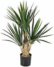 Künstlicher Yucca Busch mit 107 Blättern, DELUXE, 70 cm - Kunstbusch / Yucca Kunstpflanze - artplants