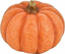 Kürbis mit LED Beleuchtung Herbst Halloween Kunststoff orange (9x12x12cm)