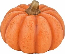 Kürbis mit LED Beleuchtung Herbst Halloween Kunststoff orange (11x15x15cm)
