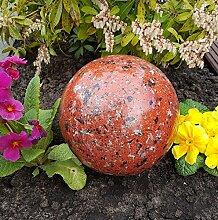 Kugel aus Edelstahl 15 cm Dekokugel Granit rot