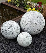 Kugel aus Edelstahl 35 cm Dekokugel Granit weiß