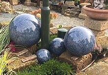 Kugel aus Edelstahl 35 cm Dekokugel Marmor blau