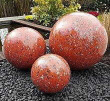 Kugel aus Edelstahl 50 cm Dekokugel Granit rot