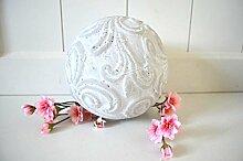 Kugel Keramik Dekokugel ca. 15cm Durchmesser grau weiß shabby Ornament Deko rustikal Garten
