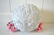 Kugel Keramik Dekokugel ca. 17cm Durchmesser grau weiß shabby Ornament Deko rustikal Garten