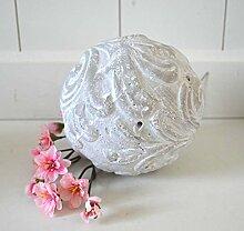 Kugel Keramik Dekokugel Gartenkugel ca. 12cm Durchmesser grau weiß shabby Ornament Deko rustikal Garten