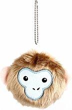 Kugel-Ketten-Beutel-Dekoration Hairy-Affe-Gesichts-Puppe-Spielzeug-Anhänger Brown