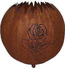 Kugel mit Rose aus Blech Edelrost Durchmesser 30 für Außenbleuchtung