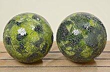 Kugel Mosaik Glas grün lackiert Ø 18 cm, Gartendeko, Gartenobjek