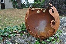 Kugel voll zum Bepflanzen Feuerkugel Kerzenhalter Metall Rost Deko