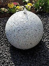 Kugelbrunnen 30 cm LED-Bel. Edelstahl Granit weiß