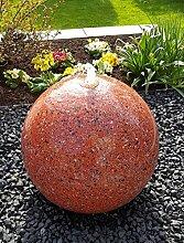 Kugelbrunnen 40 cm LED-Bel. Edelstahl Granit rot