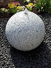 Kugelbrunnen 40 cm LED-Bel. Edelstahl Granit weiß