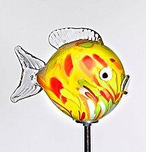 Kugelfisch gelb mit Stab ''Gartenflair 1'' (17,5cm), mundgeblasen und handgeformtes Glas Unikat (ART GLASS powered by CRISTALICA)