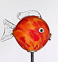 Kugelfisch rot-orange mit Stab ''Gartenflair 1'' (17,5cm), mundgeblasen und handgeformtes Glas Unikat (ART GLASS powered by CRISTALICA)
