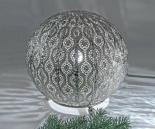 Kugellampe, Lampe, Leuchte CAPRI, Metall, silber, Ø 25 cm, orientalisch, Formano