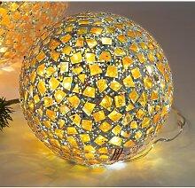 Kugellampe, Leuchte, Lichtkugel KARO mit 25 LEDs Glas Gelb bunt Ø 15cm Formano (21,90 EUR / Stück)