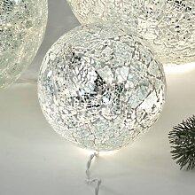 Kugellampe SILBER MOSAIK D. 15cm creme beige Glas mit Lichterkette Formano (21,90 EUR / Stück)