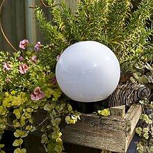 Kugelleuchte 20 cm Ø, weiße Gartenlampe, Außenleuchte, schöne Deko für Innen & Außen, Gartenbeleuchtung, Gartenkugel für Energiesparlampen E27 & LED - 230 V & 40W, Kugellampe mit IP44, 180 cm Kabel
