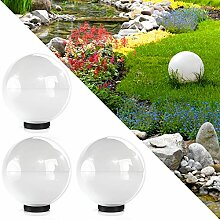 Kugelleuchte 20cm Gartenleuchte Lampe Kugellampe Gartenlampe Außenleuchte Leuchte Weiss (3x 20cm Weiß)