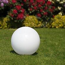 Kugelleuchte 30 cm Ø, weiße Gartenlampe, Außenleuchte, Deko für Innen & Außen, Gartenbeleuchtung, Gartenkugel für Energiesparlampen E27 & LED - 230 V & 15W, Kugellampe mit IP44, wasserfest & kratzfes