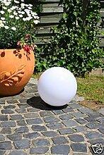 Kugelleuchte 30 cm Ø, weiße Gartenlampe, Außenleuchte, schöne Deko für Innen & Außen, Gartenbeleuchtung, Gartenkugel für Energiesparlampen E27 & LED - 230 V, Kugellampe mit IP44, 180 cm Kabel