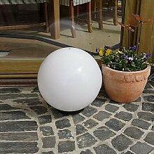 Kugelleuchte 30 cm Ø | weiße Gartenlampe, Außenleuchte, schöne Deko für Innen & Außen, Gartenbeleuchtung, Gartenkugel für Energiesparlampen E27 & LED - 230 V, Kugellampe mit IP44, 180 cm Kabel