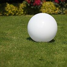 Kugelleuchte 40 cm Ø, weiße Kugellampe, Außenleuchte, strahlend schöne Deko für Innen & Außen, Gartenbeleuchtung, Gartenkugel für Energiesparlampen E27 & LED - 230 V & 23W, Kugellampe mit IP44