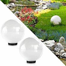 Kugelleuchte 40cm Gartenleuchte Lampe Kugellampe Gartenlampe Außenleuchte Leuchte Weiss (2x 40cm Weiß)