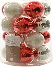 Kugeln Glas rot weiß silber Glaskugeln