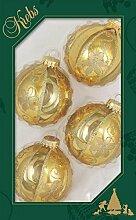Kugeln in gold mit metalic Blumendeko,6,7 cm