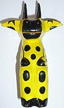 Kuh, Gelb, sitzend - Handbemalter Holzmagnet zur