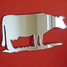 Kuh Wandspiegel, plastik, silber, 60 x 38 cm