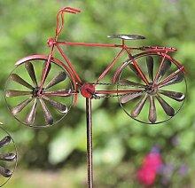 KUHEIGA Gartenstecker Rankstab Fahrrad, rot -
