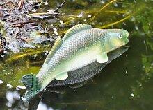 kuheiga Schwimmfisch Hecht blau/grün Schwimmkugel Fisch Teichdekoration Teichzubehör