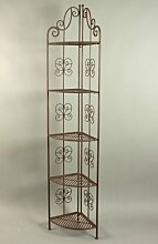 KUHEIGA Verziertes Eckregal, braun, Höhe 180cm