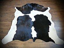 KUHFELL Kalbfell Stierfell Fell Teppich dunkelbraun - weiss 150 x 150cm #638