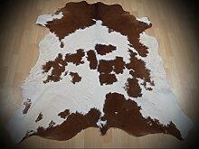 KUHFELL Kalbfell Stierfell Fell Teppich weiss - braun 138x138cm #758