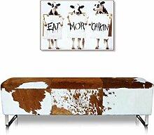 Kuhfell Sitzbank (Echt) Fell Braun-Weiß oder Schwarz-Weiß Fuß Edelstahl matt.
