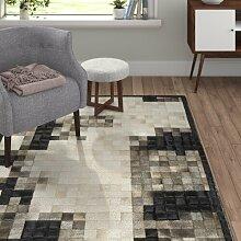 Kuhfell-Teppich Mr. Grey in Schwarz/Weiß