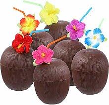 Kuinayouyi 15 Stück Kokosnuss-Becher Hawaii Luau