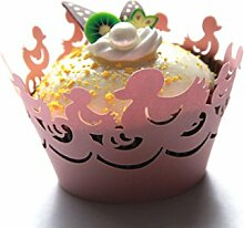 Kuke 24PCS Cute Schwimmen Enten Laser Cut Cupcake Wrappers Cupcake Liners Muffin Container Baby Dusche Baby Geburtstag Taufe oder Hochzeit Party Cupcake Verzerrungseffekt (Pink)