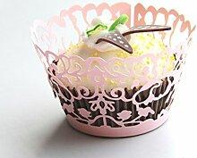 Kuke 24PCS Geheimnisvolle Alten China Ghost Laser Cut Cupcake Wrappers Cupcake Liners Muffin Container Baby Dusche Baby Geburtstag Taufe oder Hochzeit Party Cupcake Verzerrungseffekt (Pink)