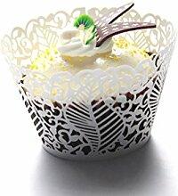 Kuke 24PCS Seabed Leaf Laser Cut Cupcake Wrappers Cupcake Liners Muffin Container Baby Dusche Baby Geburtstag Taufe oder Hochzeit Party Cupcake Verzerrungseffekt (weiß)