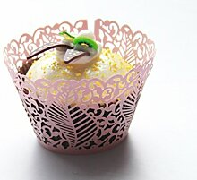 Kuke 24PCS Seabed Leaf Laser Cut Cupcake Wrappers Cupcake Liners Muffin Container Baby Dusche Baby Geburtstag Taufe oder Hochzeit Party Cupcake Verzerrungseffekt (Pink)